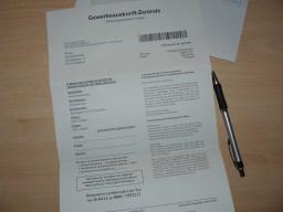 Schreiben von der Gewerbeauskunft- Zentrale