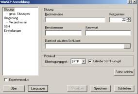 WinSCP Anmeldefenster