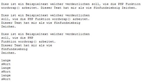 Ausgabe des wordwrap() Beispiel