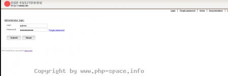 Screenshot Loginmaske zum Administrationsbereich, wo man die Einträge verwalten kann. anzeigen